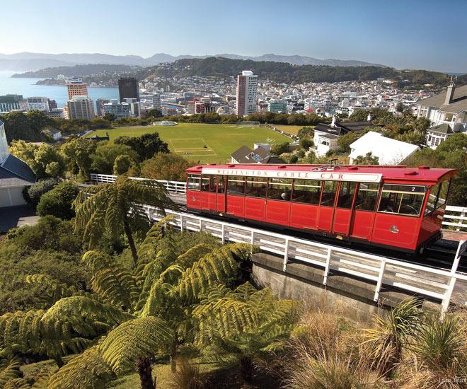 Passa på att ta en åktur med Wellingtons Cable Car och njut av en underbar panoramavy över staden och havet.