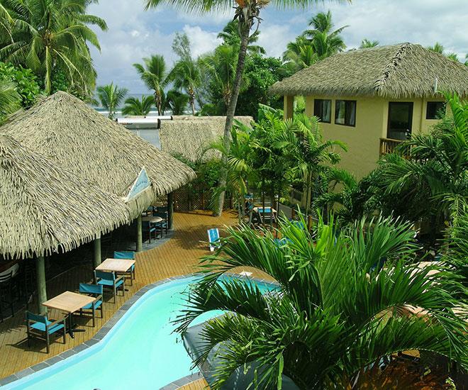 Lummig grönska på Castaway Resort Rarotonga