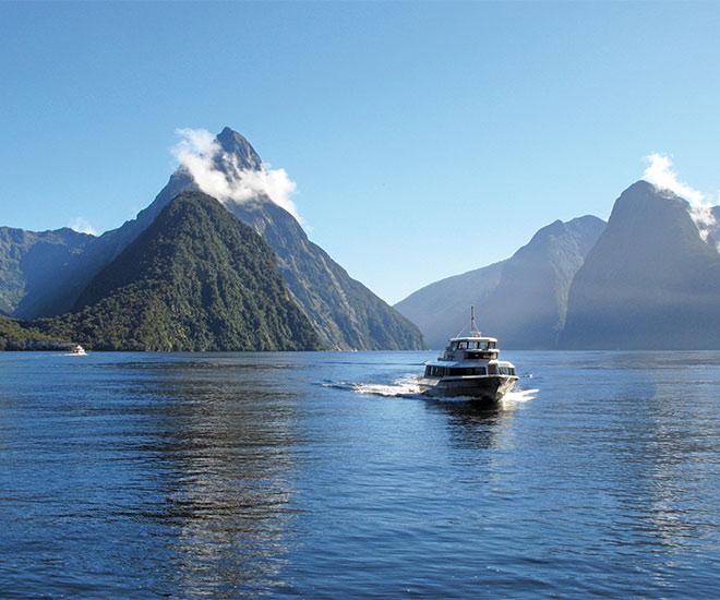 Nya Zeeland, kryssning genom Milford Sound på Sydön