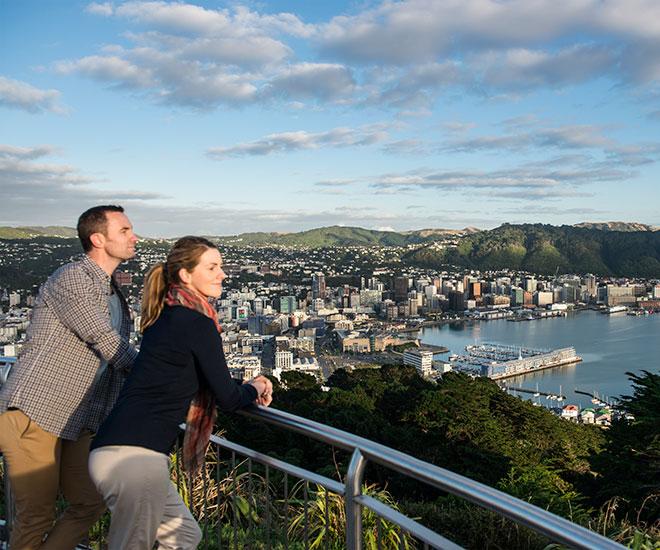 Nya Zeelands huvudstad Wellington beläget längst ner på Nordön.