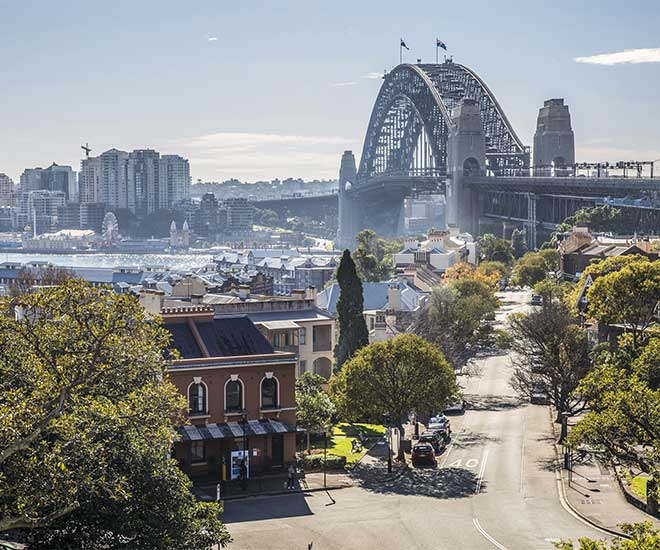 Under cykelturen i Sydney cyklar vi över Sydney Harbour Bridge, en av stadens välkända ikoner.