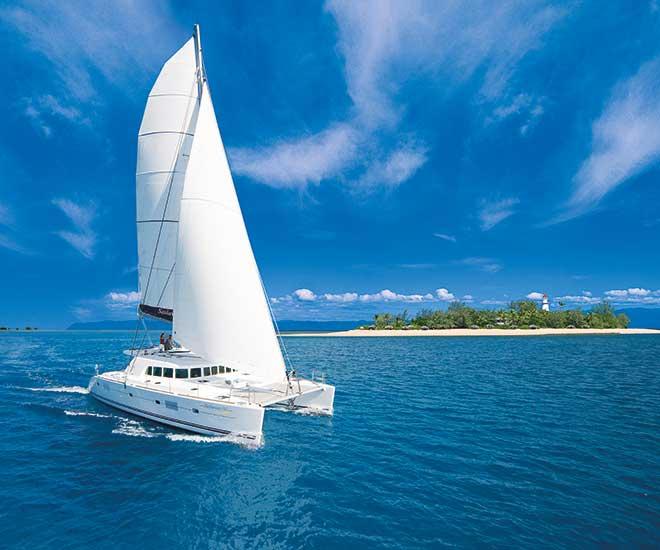 Vår exklusiva segelkatamaran tar oss ut på Stora barriärrevet med förhoppning om att  träffa på havssköldpaddor!