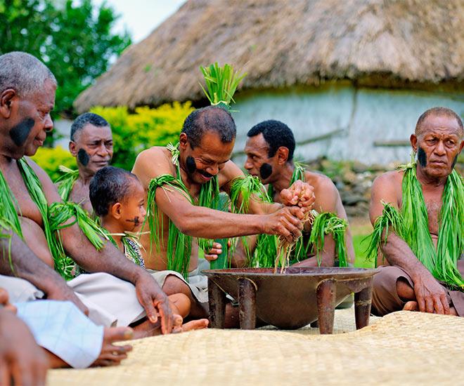 Traditionell kavacermoni på Fiji.